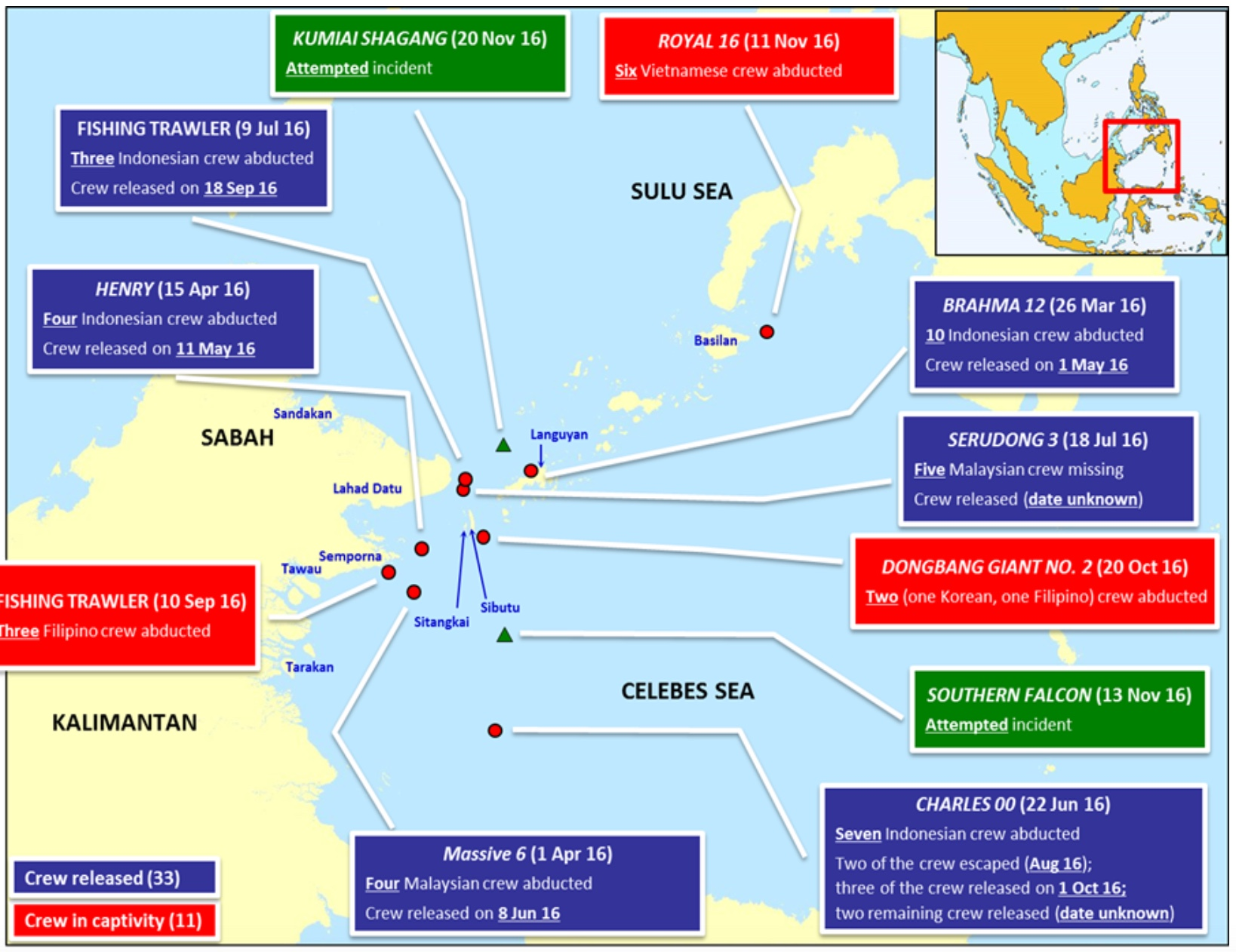 Sulu-Celebes Seas Abductions Map. Courtesy of ReCAAP ISC