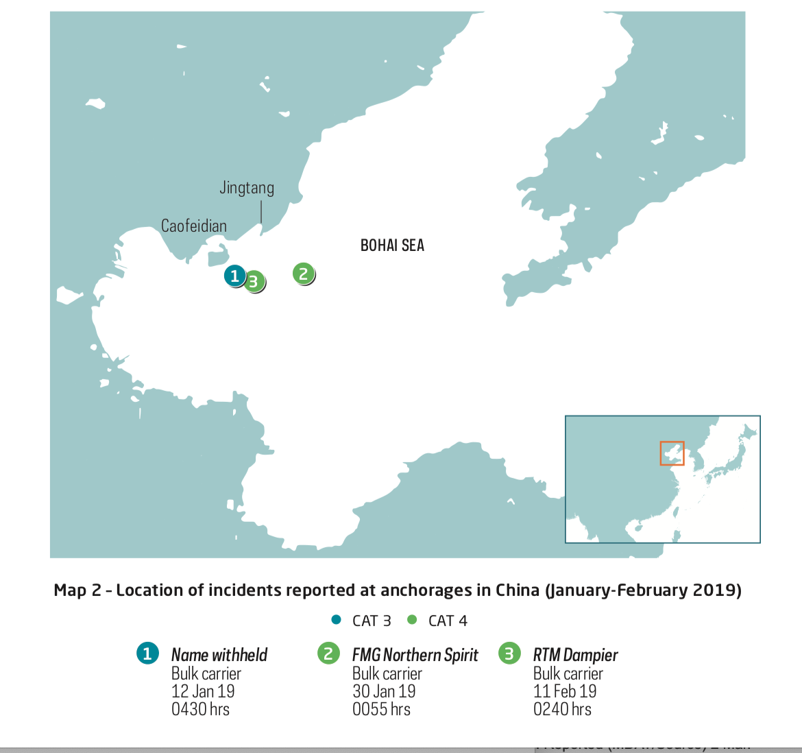 Incidents at Anchorage in China. Image: ReCAAP ISC