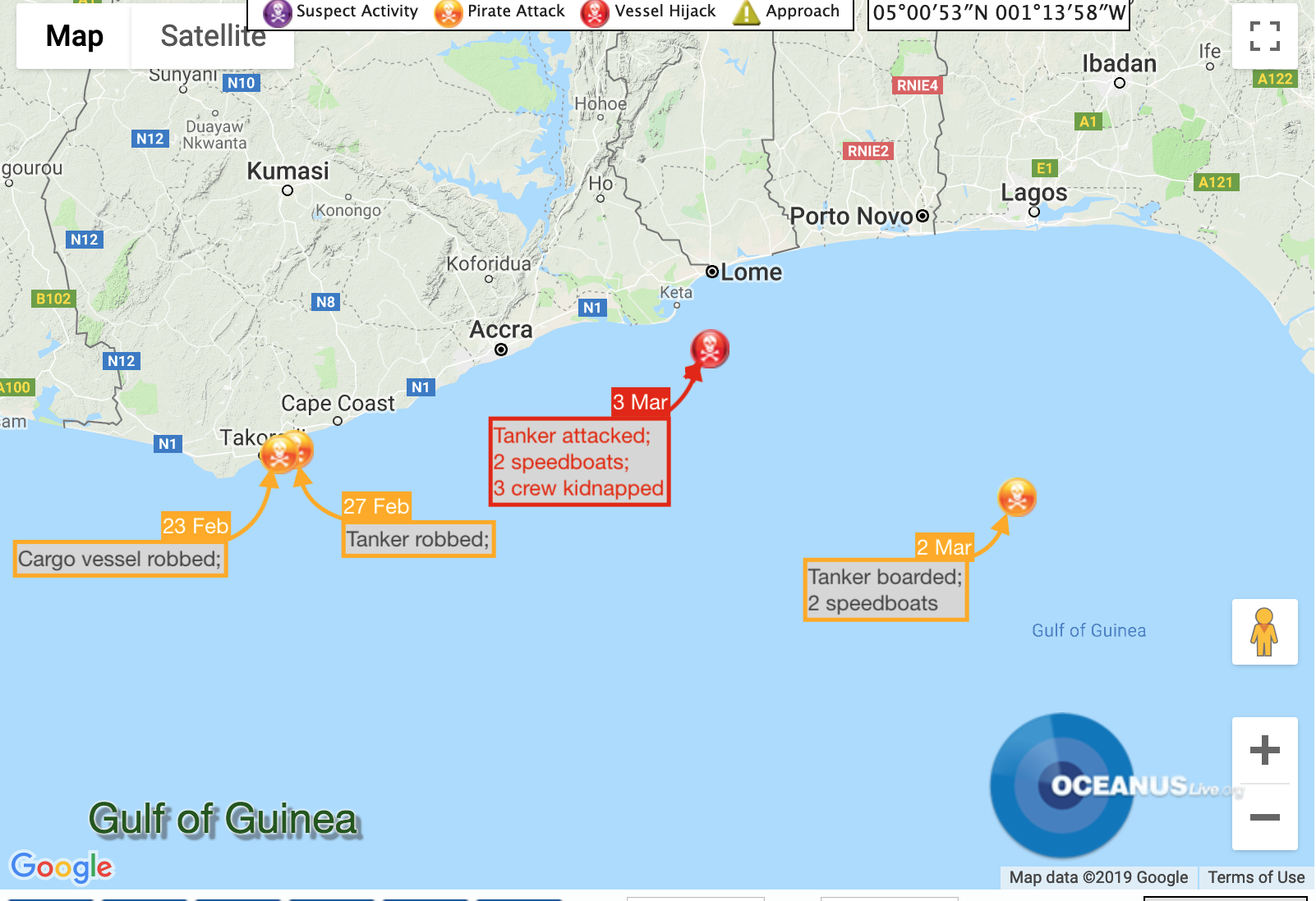 Pirate Activity off Lome & Nigeria. Map: OCEANUSLive