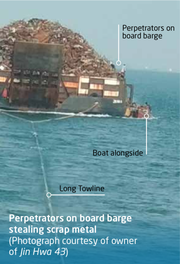 Perpetrators on board barge stealing scrap metal