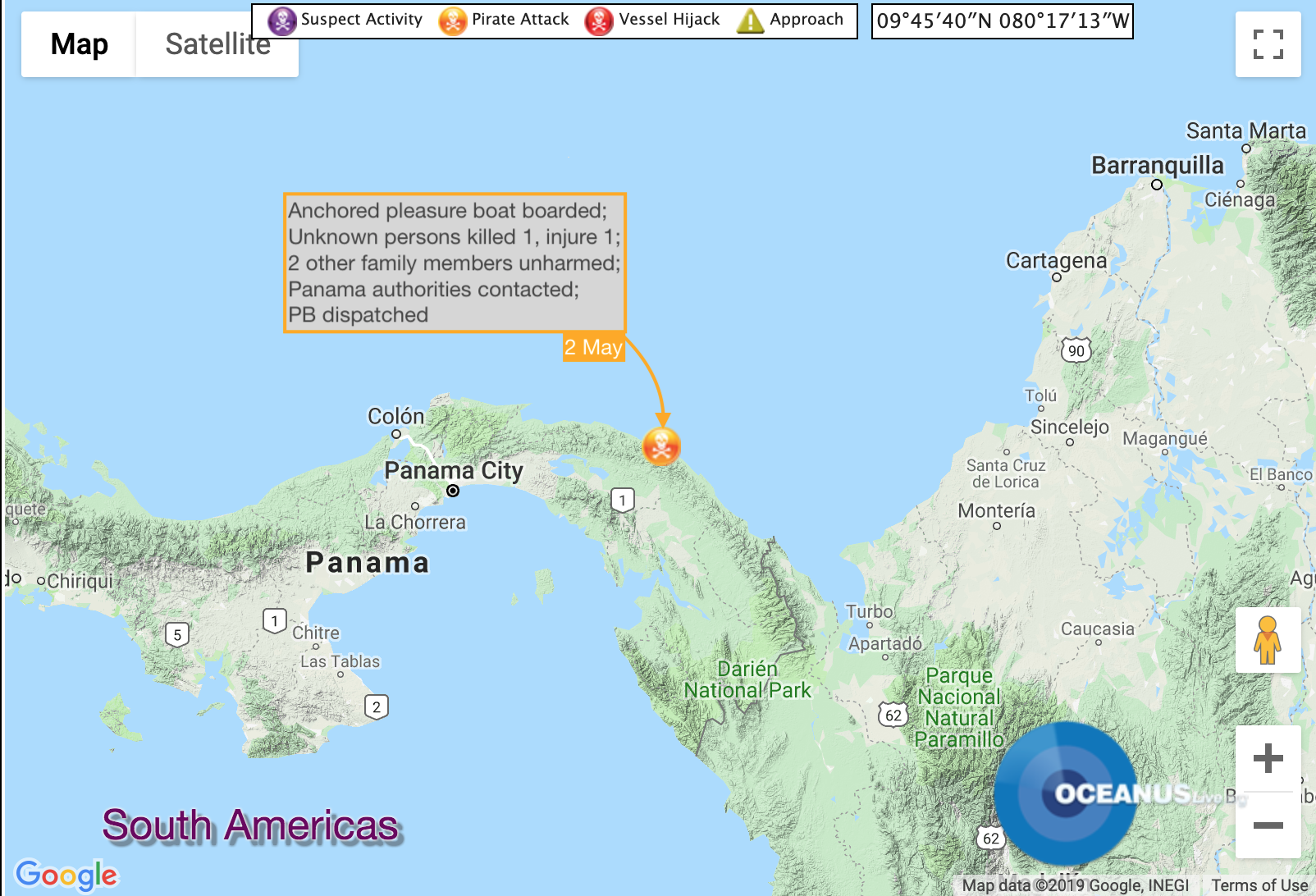 Pleasure Boat Boarded, 1 Crew Killed Off Panama. Map: OCEANUSLive