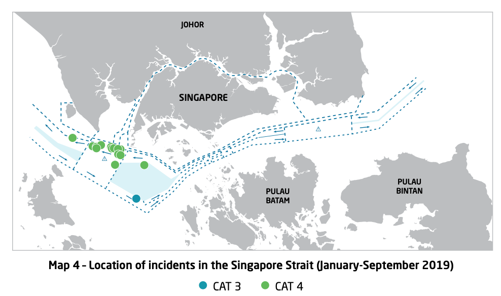 Map 4 - Lcation of Incidents in the Singapore Strait (Jan - Sep 2019). Courtesy of ReCAAP ISC