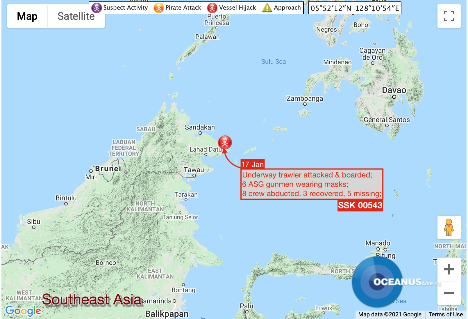 Location of trawler crew abduction by ASG Image: OCEANUSLive