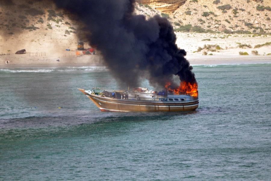 Burning Dhow in Gunfight With Dutch Warship - Photo; NL MoD